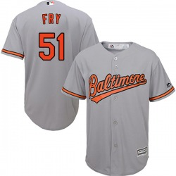 Paul Fry Baltimore Orioles Men's Replica Majestic Cool Base Road Jersey - Grey